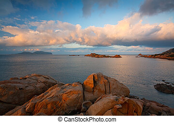 Coast in Sardinia, Italy - Evening on the coast in Sardinia,...