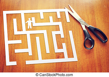 Concept of decision the problem. Man into a labyrinth