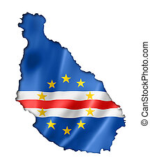 Cape Verde flag map, three dimensional render, isolated on...