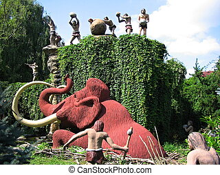 People hunting a mammoth - Bautzen, Germany - August 16,...