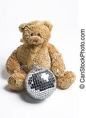 Disco Teddy bear - Teddy bear sitting on the ground with a...