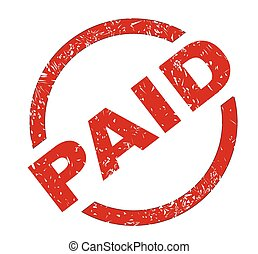 Paid - A paid red ink stamp over a white background