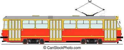 Tram - Vintage tram. Vector without gradients.
