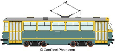 Tram - Vintage tram Vector without gradients