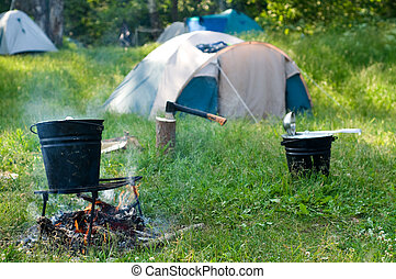 Campsite - Tent set up for camping in the wood