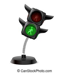 Souvenir at the spring in form traffic light on the white...