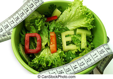 Diet - Green plate with word diet composed of slices of...