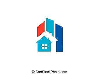 home renovation construction abstract vector logo