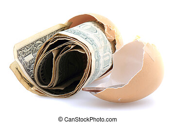 dolars in the empty egg shell isolated on the white...