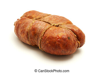 Soppressata di Calabria on a white background