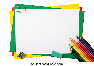 Multicolored pencils on paper.