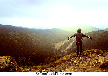 Freedom in mountains - One person feel freedom in beautiful...