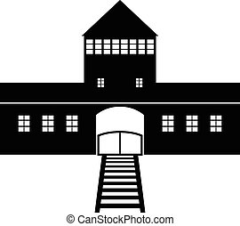 Concentration Camp Auschwitz icon on white background Vector...