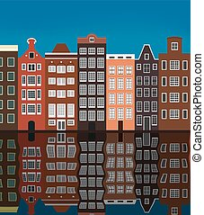 Illustration, city buildings on the