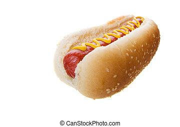 Large hot dog - Wide angle hot dog on a white background