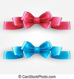 Blue and pink holiday ribbon