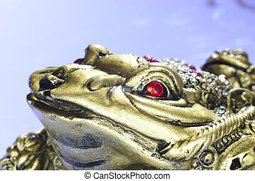 Feng Shui golden money toad character figurine