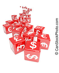 3d Currency symbol red dice