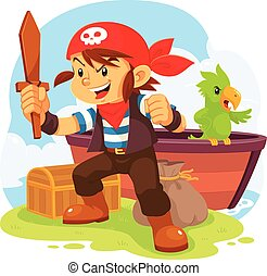 Pirate Boy. - Illustration of pirate boy in action pose.