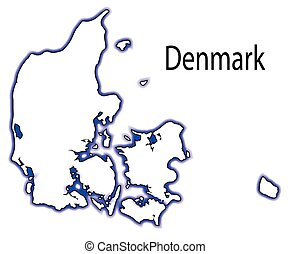 Denmark - Outline map of Denmark over a white background