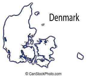 Denmark - Outline map of Denmark over a white background