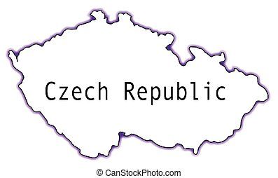 Czech Republic - Outline map of the Czech Republic isolated...