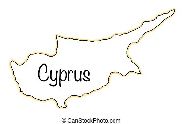 Cyprus - Outline map of Ctprus over a white background