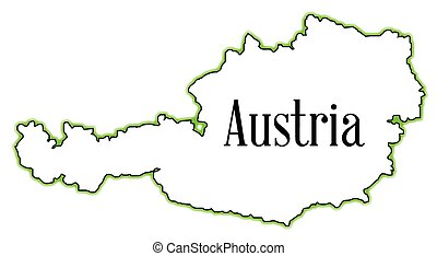 Austria - Outline map of Austria over a white background
