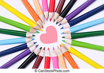 love pencil - A colored pencil, coloured pencil see spelling...