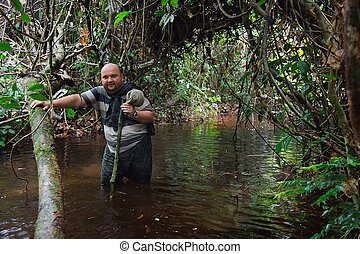 Man in the Congo jungle - The photographer in the jungle...