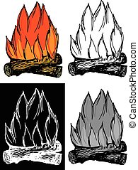 campfire - Editable vector illustrations in variations...