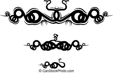 Snake tattoo - Isolated snakes as a frame or sign