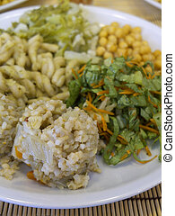 Macrobiotic food on white dish