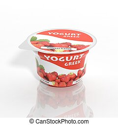3D yogurt plastic container isolated on white