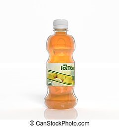 3D ice tea transparent plastic bottle isolated on white