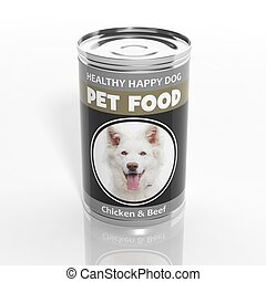 3D dog food metallic can isolated on white