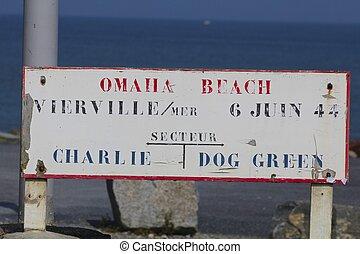 Omaha Beach Sign, D-Day Invasion - Sign on Omaha Beach...