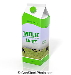 3D diet milk carton box isolated on white