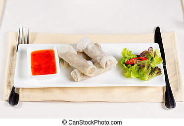 Fresh Spring Rolls Main Dish with Dipping Sauce - Close up...