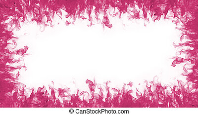 Pink fire frame on white background