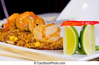 Gourmet Appetizing Rice Dish with Lemon - Close up Gourmet...
