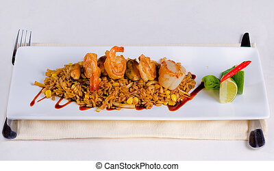 Main Dish Risotto with Shrimps on White Plate - Mouth...