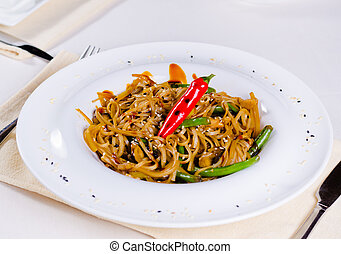 Gourmet Tasty Main Dish with Chili Pepper - Close up Gourmet...