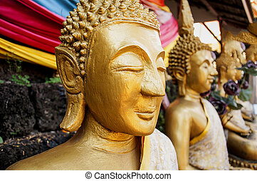Buddism Statues in Laos public temple