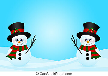christmas snowmans in snow with place for text