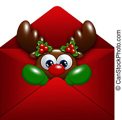 christmas reindeer in envelope over white background