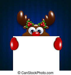 christmas reindeer holding blank over blue background -...