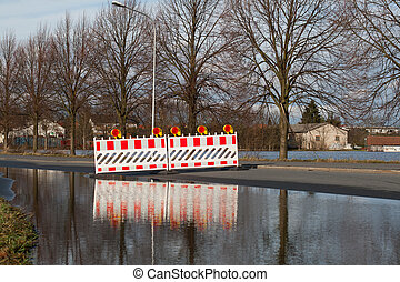 Flooded street - A road is closed because of flooding