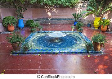 Fountain at the Majorelle Gardens in Marrakesh, Morocco