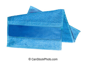 blue towel for face and hands with tape